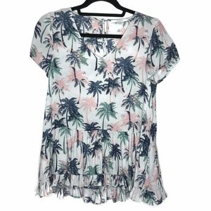 RO + DE Nordstrom Palm Tree Print Blouse
